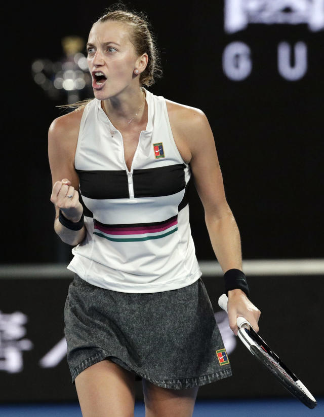 Petra Kvitova of the Czech Republic reacts after winning a point against Japan's Naomi Osaka during the women's singles final at the Australian Open tennis championships in Melbourne, Australia, Saturday, Jan. 26, 2019. (AP Photo/Aaron Favila)