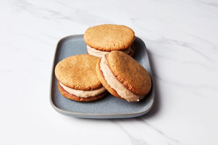 """The important part here is the peanut butter coconut cream filling, which you mix up in a blender. It happens to be one of the best <a href=""""https://www.epicurious.com/ingredients/dairy-free-frosting-blender-peanut-butter-article?mbid=synd_yahoo_rss"""" rel=""""nofollow noopener"""" target=""""_blank"""" data-ylk=""""slk:dairy-free frostings"""" class=""""link rapid-noclick-resp"""">dairy-free frostings</a> we've ever had. <a href=""""https://www.epicurious.com/recipes/food/views/peanut-butter-coconut-cream-cookie-sandwiches?mbid=synd_yahoo_rss"""" rel=""""nofollow noopener"""" target=""""_blank"""" data-ylk=""""slk:See recipe."""" class=""""link rapid-noclick-resp"""">See recipe.</a>"""