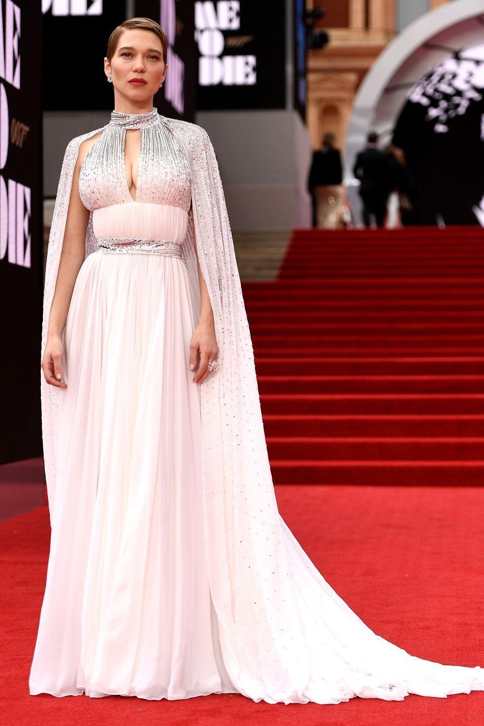 <p>Lea Seydoux, who reprises her role in the latest Bond instalment, wore a custom Louis Vuitton gown with a sparkling chiffon cape, and Chopard jewellery.</p>