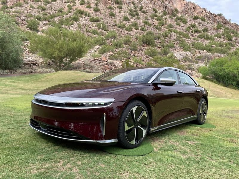 A Lucid Air electric vehicle is displayed in Scottsdale, Arizona
