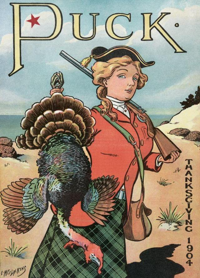 1904 — Vintage illustration from Puck Magazine of a woman hunter holding a Thanksgiving turkey she has just shot with her rifle. Lithograph by Louis M. Glackens, printed by J. Ottmann, New York, 1904. — Image by © puck/PoodlesRock/PoodlesRock/Corbis