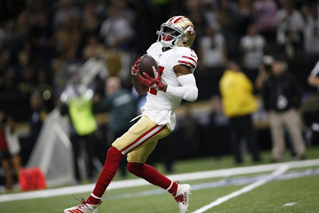 Emmanuel Sanders has reportedly reached a deal with the New Orleans Saints. (Michael Zagaris/San Francisco 49ers/Getty Images)