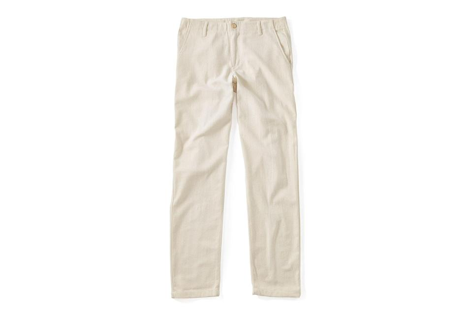 "$180, Huckberry. <a href=""https://huckberry.com/store/adam-mar/category/p/58815-silk-cotton-twill-chino"" rel=""nofollow noopener"" target=""_blank"" data-ylk=""slk:Get it now!"" class=""link rapid-noclick-resp"">Get it now!</a>"