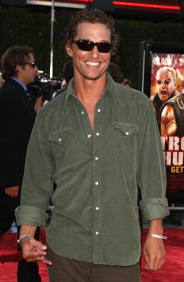 """<a href=""""http://movies.yahoo.com/movie/contributor/1800018907"""">Matthew McConaughey</a> at the Los Angeles Premiere of <a href=""""http://movies.yahoo.com/movie/1809912814/info"""">Tropic Thunder</a> - 08/11/2008"""