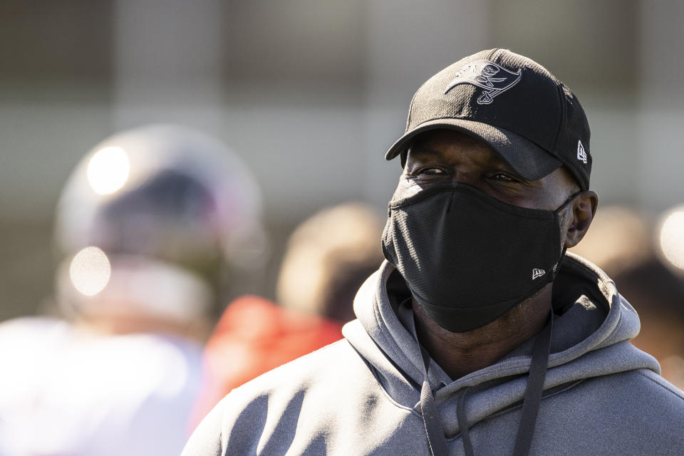 Tampa Bay Buccaneers defensive coordinator Todd Bowles (pictured) and offensive coordinator Byron Leftwich were brilliant in the Super Bowl, and perhaps torpedoed one of the NFL's worst coach hiring excuses. (Kyle Zedaker/Tampa Bay Buccaneers via AP)