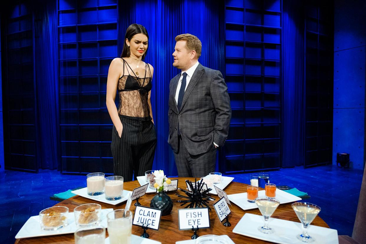 LOS ANGELES - NOVEMBER 11: Kendall Jenner plays Spill Your Guts or Fill Your Guts with James Corden during