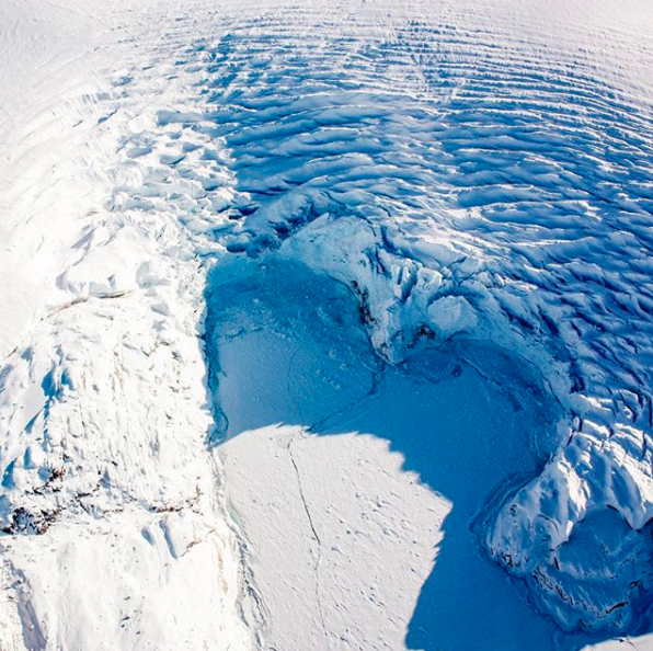 Heart shaped ice captured from NASA research plane during IceBridge mission. Source: Instagram / NASA
