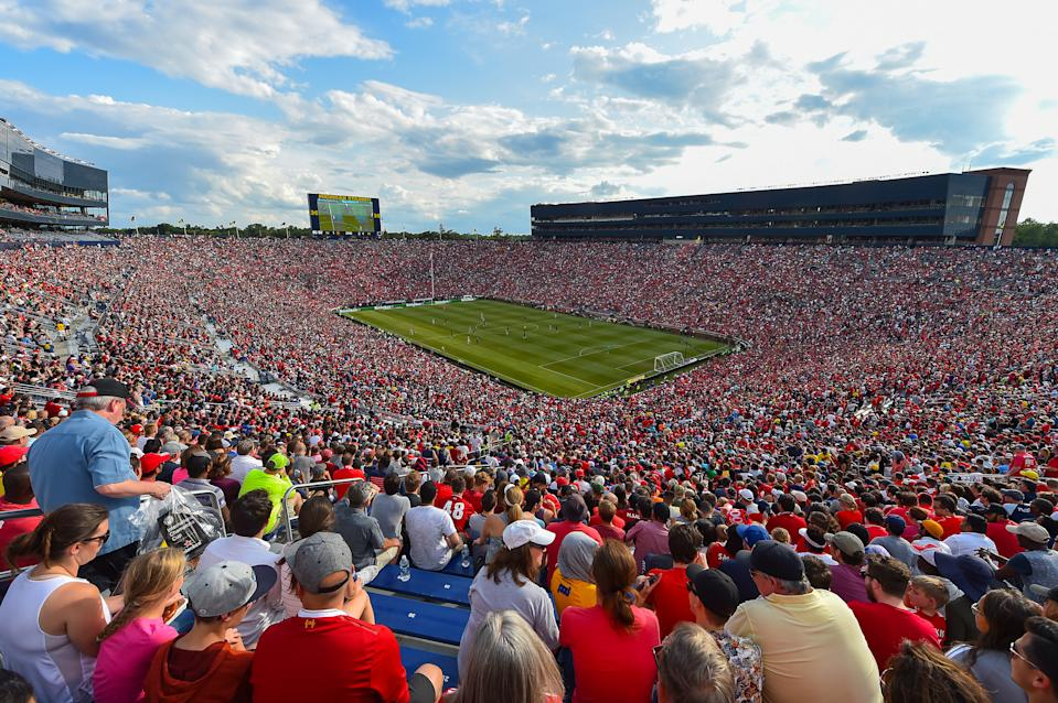 ANN ARBOR, MI - JULY 28: (THE SUN OUT, THE SUN ON SUNDAY OUT) General view of Liverpool and Manchester United during the International Champions Cup 2018 match between Manchester United and Liverpool at Michigan Stadium on July 28, 2018 in Ann Arbor, Michigan. (Photo by Andrew Powell/Liverpool FC via Getty Images)