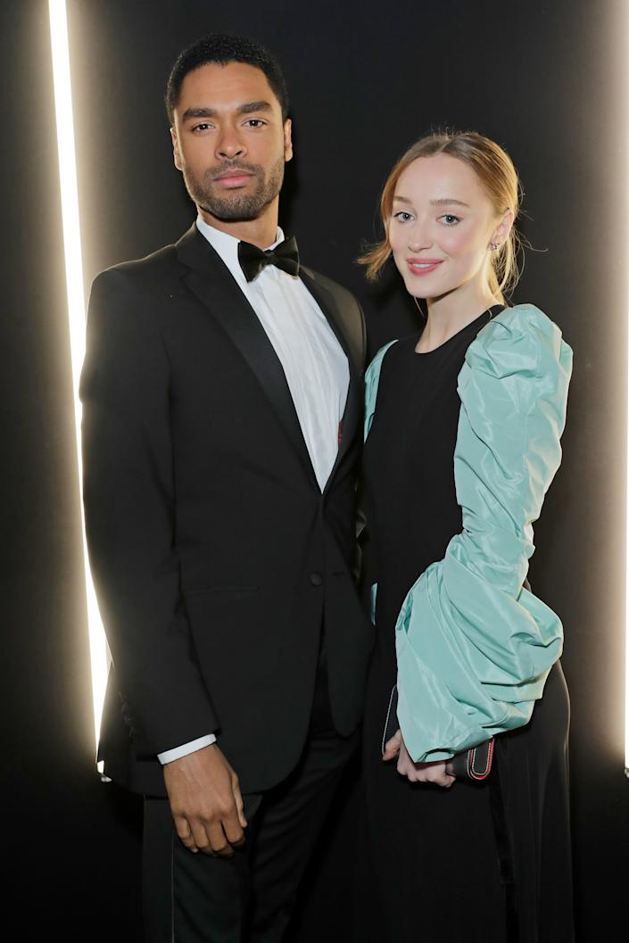 LONDON, ENGLAND - JANUARY 29:   Rege-Jean Page and Phoebe Dynevor attend the dunhill & Dylan Jones Pre-BAFTA party at dunhill Bourdon House on January 29, 2020 in London, United Kingdom. (Photo by David M. Benett/Dave Benett/Getty Images for dunhill)