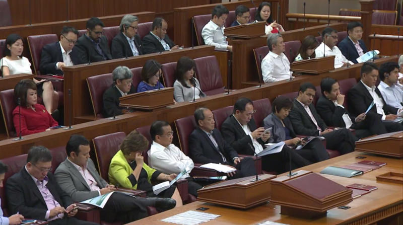 Singapore Members of Parliament in Parliament House on 20 February 2017 during Finance Minister Heng Swee Keat's Budget speech. (Photo: Screenshot from livestream of Budget speech on Channel NewsAsia website)