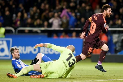 Catch me if you can: Lionel Messi in action on Sunday