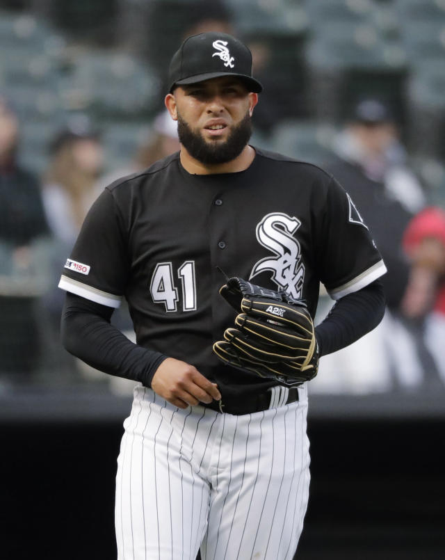 Chicago White Sox relief pitcher Kelvin Herrera reacts after Baltimore Orioles' Renato Nunez hit a single during the eighth inning of the first game of a baseball doubleheader in Chicago, Wednesday, May 1, 2019. (AP Photo/Nam Y. Huh)