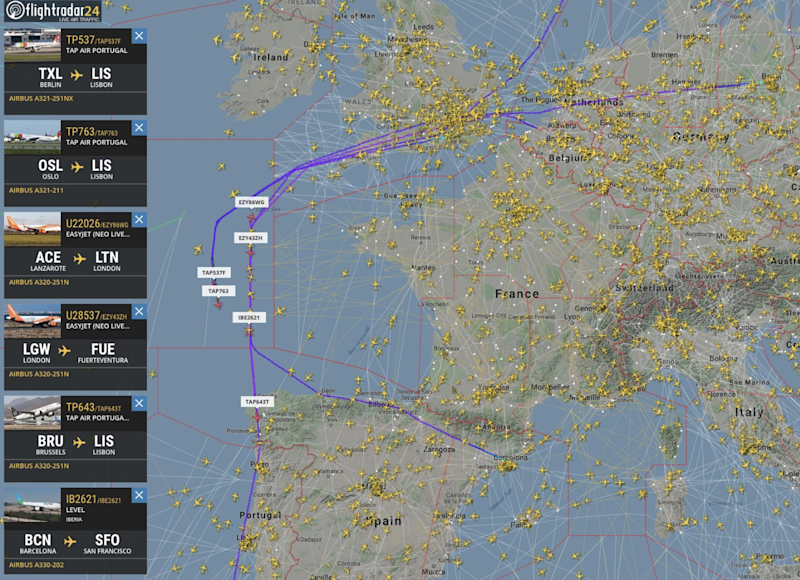 Wide berth: some flight paths from the first day of the French air-traffic control strike: FlightRadar24