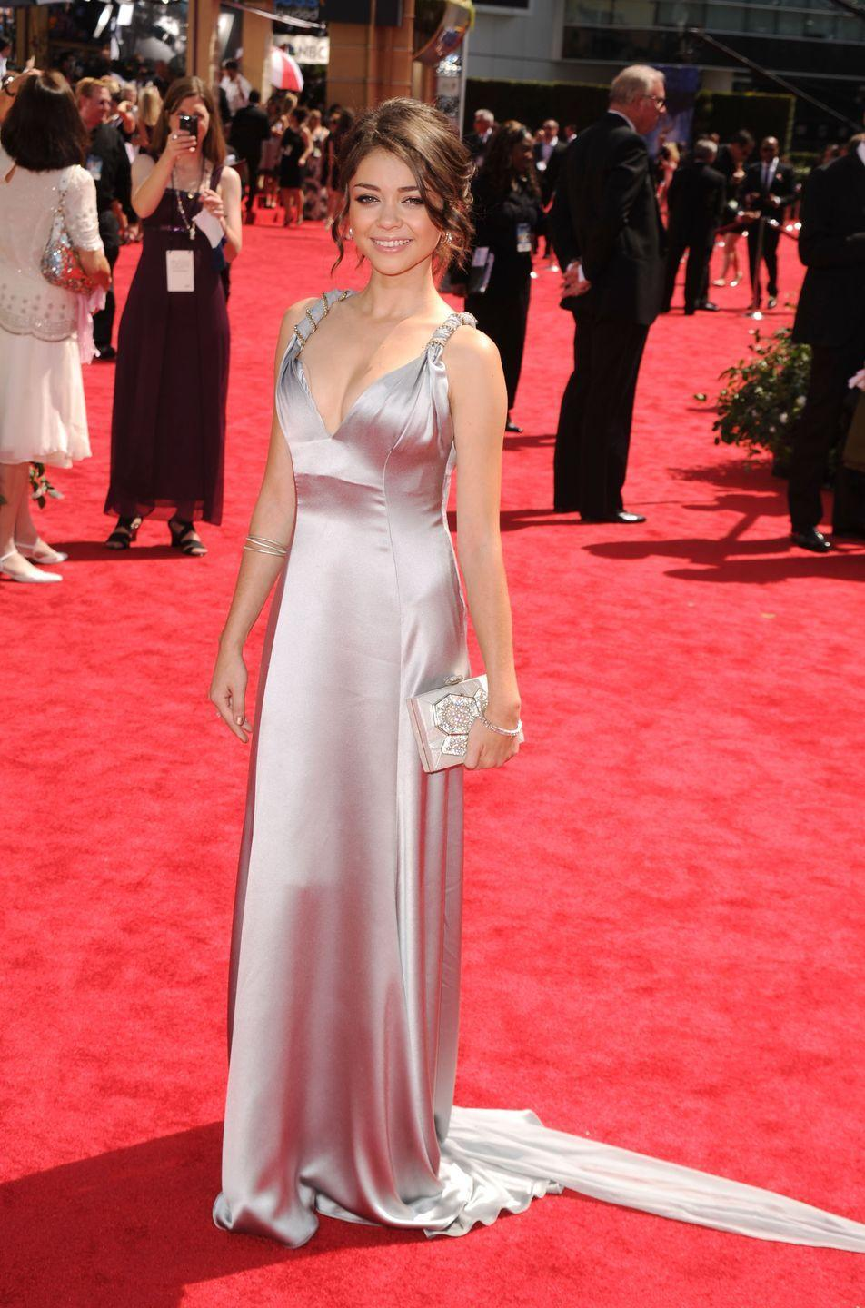 <p>Hyland looked lovely at her first Emmy red carpet in 2010.</p>