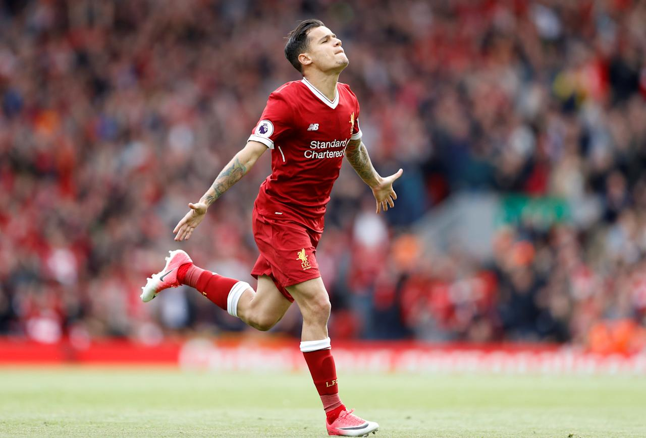 FILE PICTURE - Britain Football Soccer - Liverpool v Middlesbrough - Premier League - Anfield - 21/5/17 Liverpool's Philippe Coutinho celebrates scoring their second goal  Action Images via Reuters / Carl Recine Livepic - FILE PICTURE