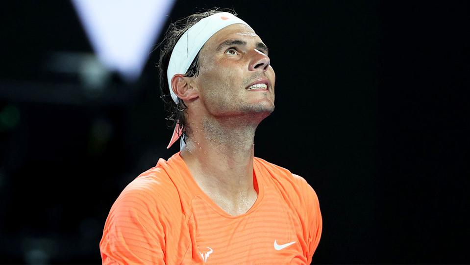 Rafael Nadal (pictured) frustrated after losing a point.