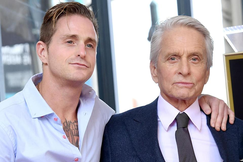 Cameron Douglas and Michael Douglas pose at the inauguration of Michael Douglas's star on the Hollywood Walk of Fame on 6 November, 2018 in Hollywood, California: Gregg DeGuire/Getty Images