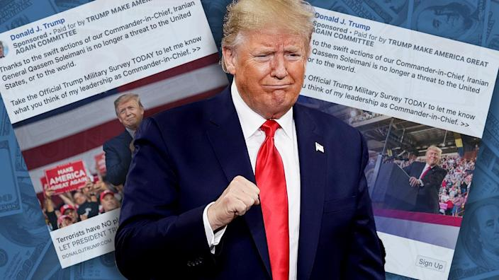 President Trump and his campaign's Facebook ads. (Photo illustration: Yahoo News; photos: AP, via Facebook, Getty Images)
