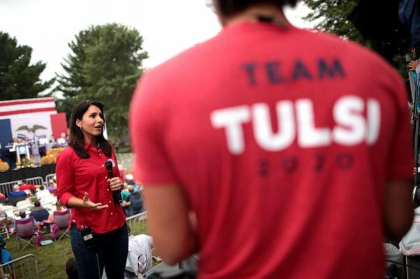 PHOTO: Democratic presidential candidate and Hawaii congresswoman Tulsi Gabbard is interviewed at the Polk County Democrats' Steak Fry on Sept. 21, 2019 in Des Moines, Iowa. (Scott Olson/Getty Images, FILE)