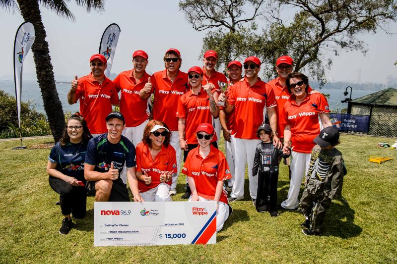 A photo of Karl Stefanovic, Richard Wilkins, Lynne McGranger, Scott Morrison and Michael 'Wippa' Wipfli at a charity cricket match.