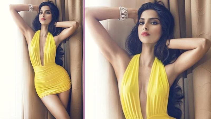 Sonam Kapoor Looks Smoldering Hot as She Flaunts Her Curves In a Yellow Vintage Bikini- View Pic
