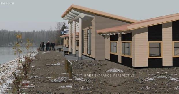 An artist's rendering of the Lower Post community centre, which will replace the former residential school building.