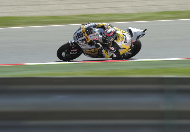 Interwetten Paddock's Swiss Thomas Luthi rides at the Catalunya racetrack in Montmelo, near Barcelona, on June 1, 2012, during the Moto2 second training session of the Catalunya Moto GP Grand Prix. AFP PHOTO / JOSEP LAGOJOSEP LAGO/AFP/GettyImages