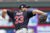 FILE - Cleveland Indians pitcher Brad Hand throws against the Minnesota Twins during a baseball game in Minneapolis, in this Sunday, Sept. 8, 2019, file photo. Hand is a free agent. (AP Photo/Andy Clayton-King, File)