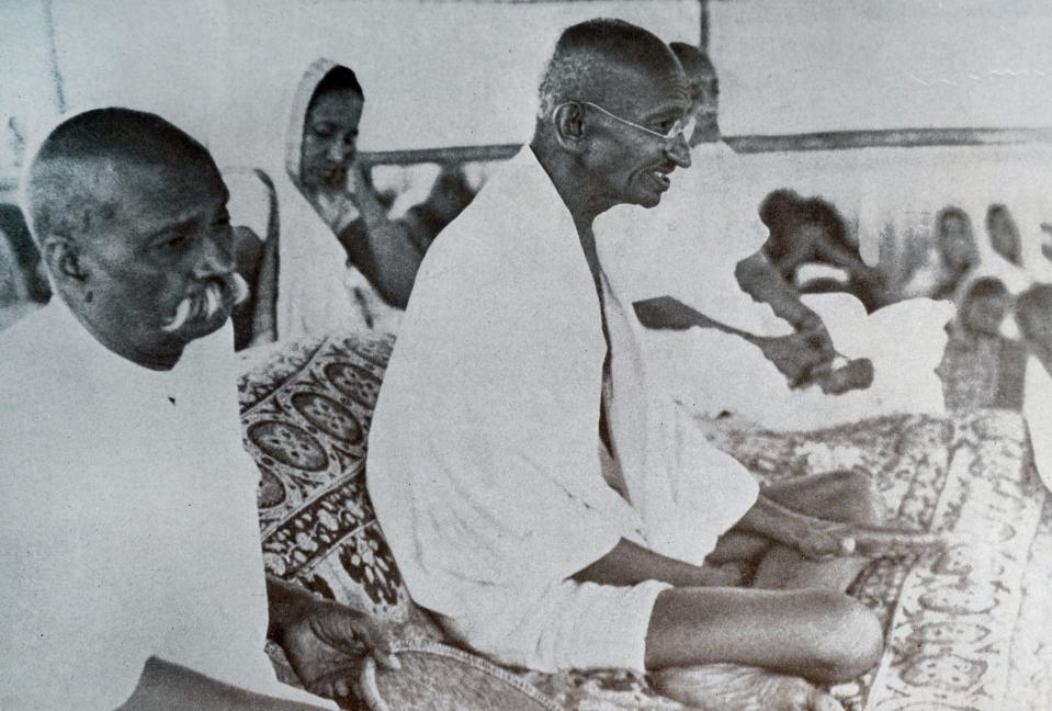 Mohandas Gandhi (1869 Ð 1948) was the preeminent leader of the Indian independence movement in British-ruled India. Seen here at a Congress Party meeting 1929. (Photo by: Universal History Archive/Universal Images Group via Getty Images)