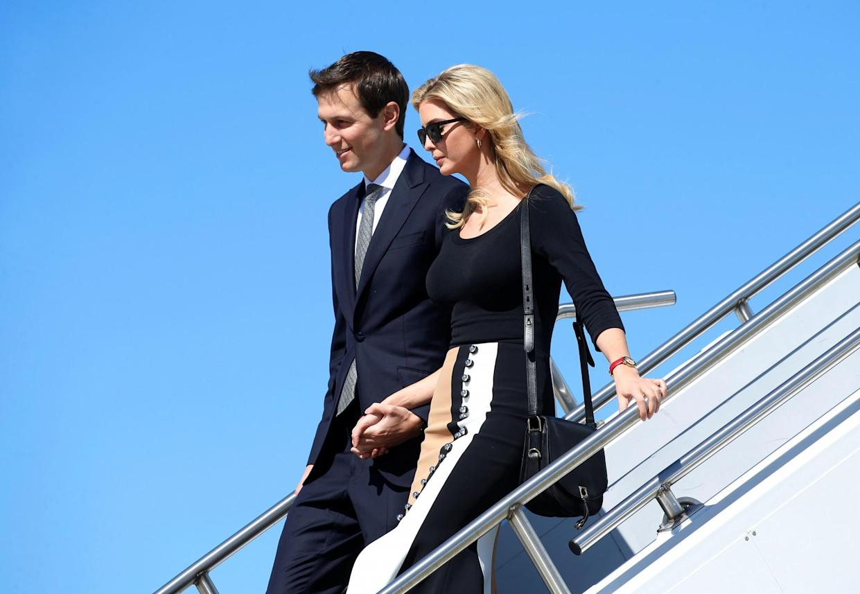 Jared Kushner and Ivanka Trump arrive on Air Force One to accompany President Trump for a tour of a Boeing facility in South Carolina on Feb. 17. (Photo: Kevin Lamarque/Reuters)