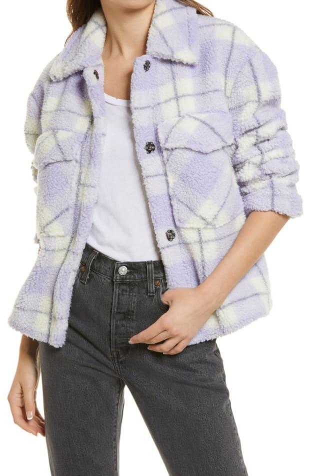"""<p>Avec Les Filles Plaid Faux Shearling Teddy Trucker Jacket, $100 (from $189), <a href=""""https://rstyle.me/+ya0QZAa8owix4JsLvZR8sQ"""" rel=""""nofollow noopener"""" target=""""_blank"""" data-ylk=""""slk:available here"""" class=""""link rapid-noclick-resp"""">available here</a> (sizes XS-XXL). </p>"""