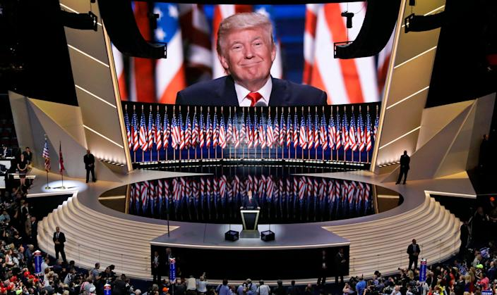 Donald Trump accepts the GOP nomination for president during the Republican National Convention in Cleveland, Ohio, in 2016. This year's convention will be a much smaller affair.