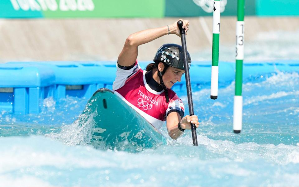 Mallory Franklin of Team Great Britain competes during the Women's Canoe Slalom Heats 1st Run on day five of the Tokyo 2020 Olympic Games at Kasai Canoe Slalom Centre on July 28, 2021 in Tokyo, Japan - Fred Lee/Getty Images