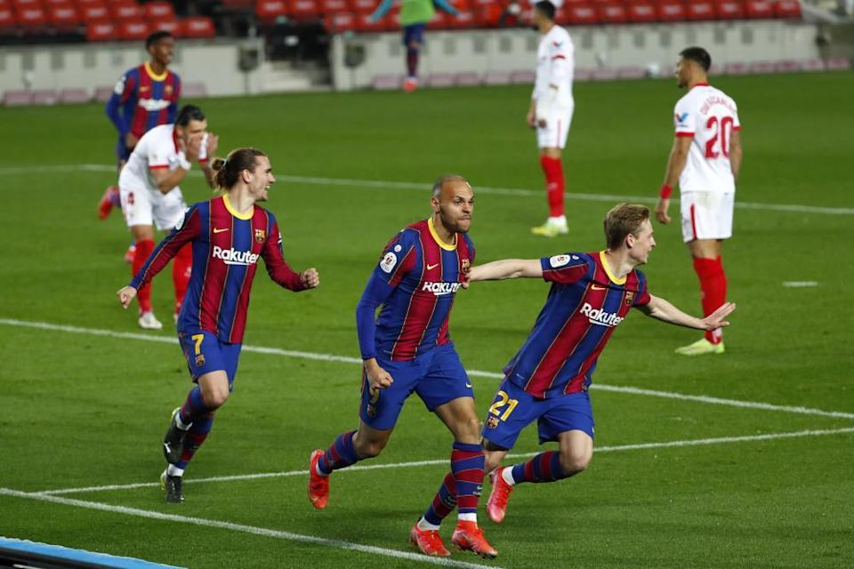 Barcelona's Martin Braithwaite (centre) celebrates after his extra-time header.