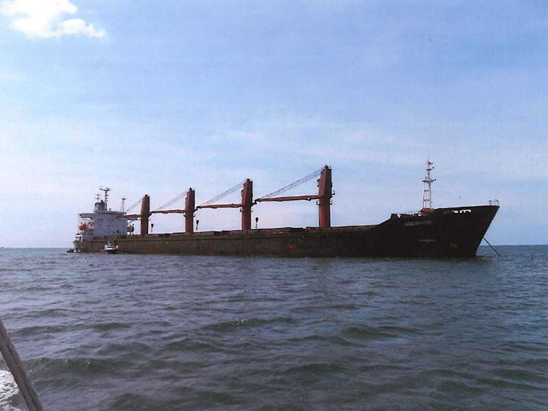 "This undated image released by the US Attorney's Office for the Southern District of New York, shows the cargo vessel ""Wise Honest."" - The US on May 9, 2019, announced the seizure of the North Korean ""Wise Honest,"" saying it had violated international sanctions by exporting coal and importing machinery."