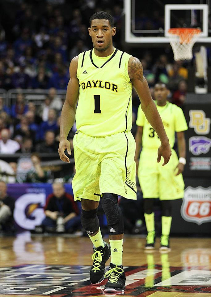 Perry Jones III of the Baylor Bears looks on during their game against the Kansas State Wildcats during the quarterfinals of the 2012 Big 12 Men's Basketball Tournament at Sprint Center on March 8, 2012 in Kansas City, Missouri.