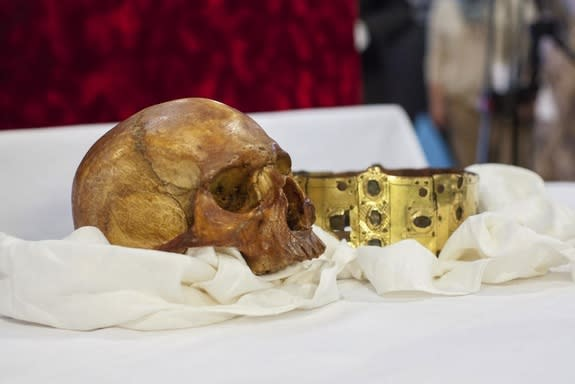 The skull and crown of Saint Erik. On April 23, 2014, the medieval reliquary containing the saint's bones was opened at a ceremony in Uppsala Cathedral in Sweden.