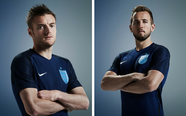 <span>Vardy and Kane in the new England shirt - the Tottenham striker will not feature, however, in the upcoming England games because of injury</span>