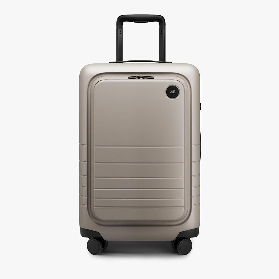 """<p>This sophisticated luggage features an """"unbreakable,"""" metallic exterior that will keep you on-trend while withstanding the toughest of treatment. You'll also get 100 days to test it out, and according to the brand's site, if you're not satisfied, you'll be able to send it back — no questions asked.</p>"""