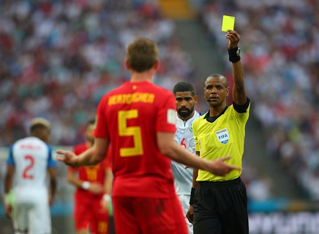 Soccer Football - World Cup - Group G - Belgium vs Panama - Fisht Stadium, Sochi, Russia - June 18, 2018 Belgium's Jan Vertonghen is shown a yellow card by referee Janny Sikazwe REUTERS/Hannah McKay