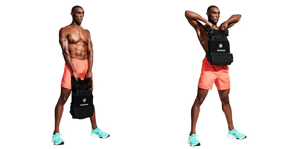 """<p>Stand with your feet <a href=""""https://www.menshealth.com/uk/fitness/lifestyle/a34870412/men-over-40-shoulder-health-kettlebell-halo/"""" rel=""""nofollow noopener"""" target=""""_blank"""" data-ylk=""""slk:shoulder"""" class=""""link rapid-noclick-resp"""">shoulder</a>-width apart and hold the vest shoulder straps with an overhand grip, arms hanging (<strong>A</strong>). Pull the vest up to your chest, elbows high (<strong>B</strong>) to work your shoulders and upper back at the same time.</p>"""