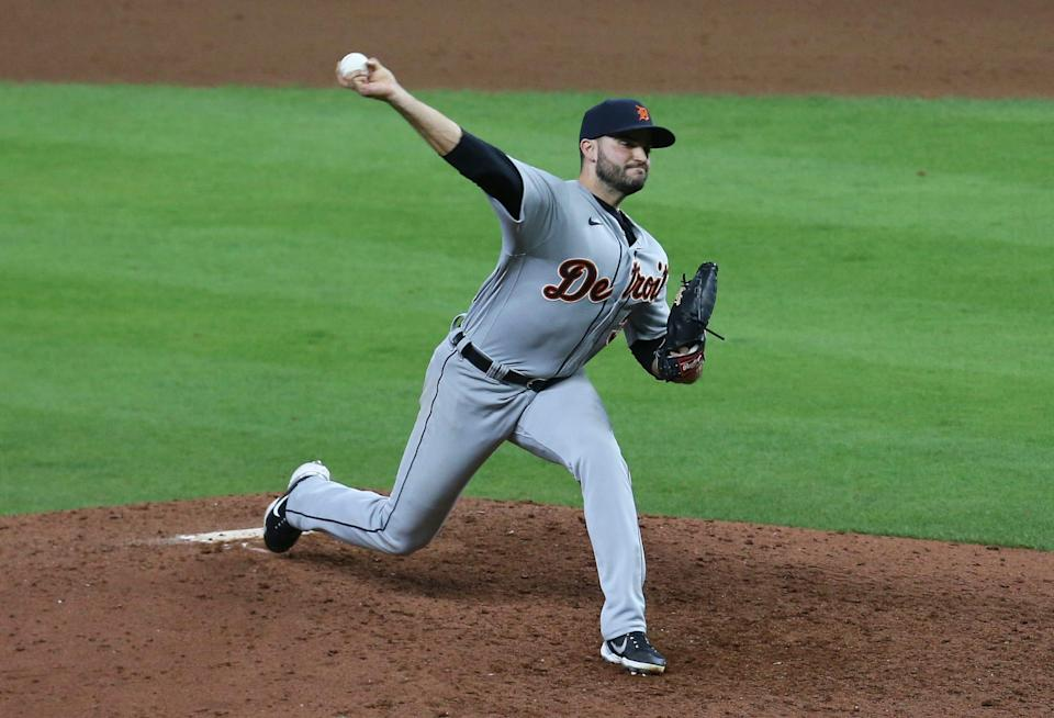 Tigers pitcher Bryan Garcia throws during the ninth inning of the Tigers' 6-4 win on Wednesday, April 14, 2021, in Houston.