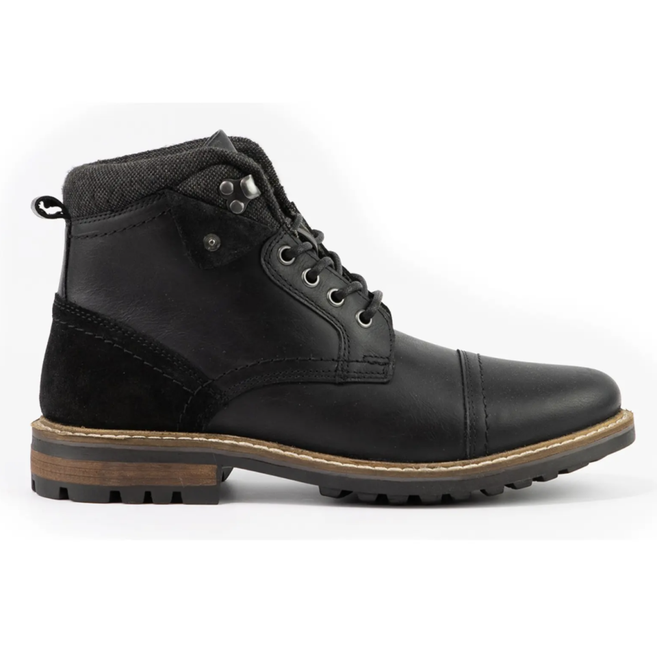 blace leagther Crevo Sore Lace-Up Boots with brown and black bottom