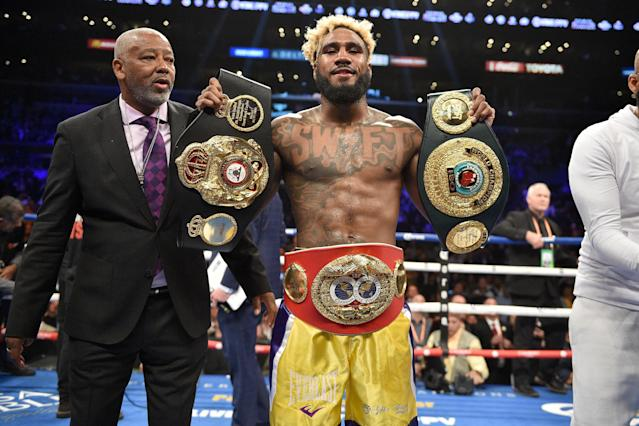 Jarrett Hurd puts his unified super welterweight titles on the line on Saturday. (Getty Images)