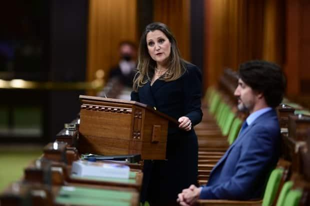 Federal Finance Minister Chrystia Freeland delivers the federal budget in the House of Commons as Prime Minister Justin Trudeau looks on in Ottawa on Monday. (Sean Kilpatrick/The Canadian Press - image credit)