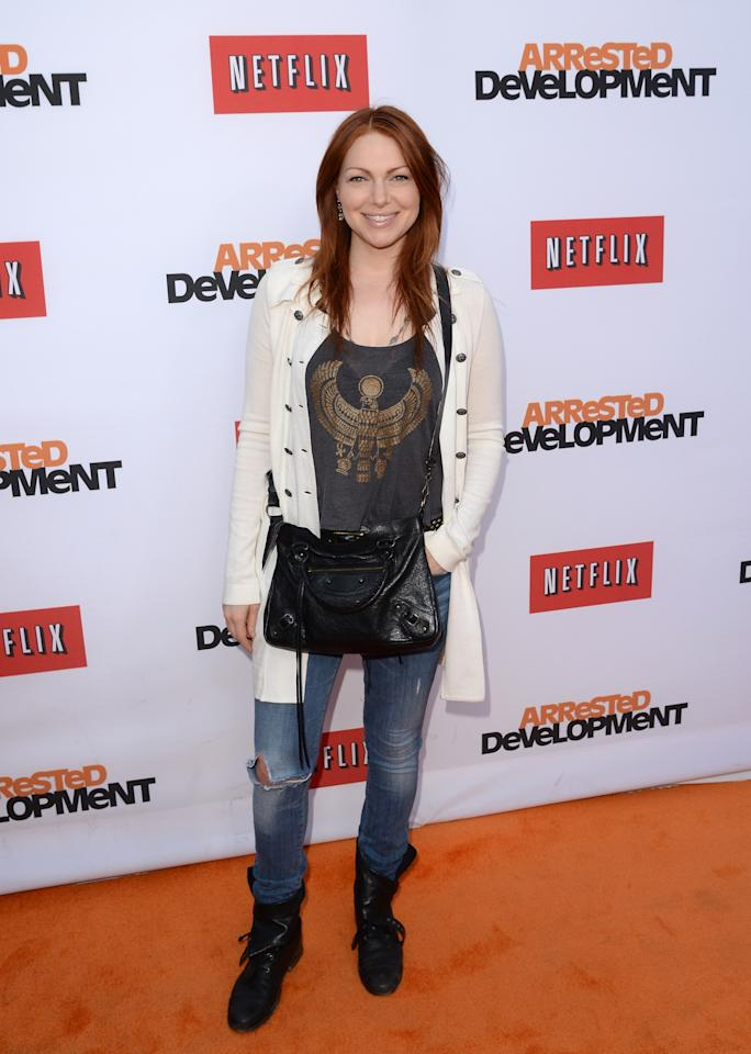 "HOLLYWOOD, CA - APRIL 29:  Actress Laura Prepon  arrives at the TCL Chinese Theatre for the premiere of Netflix's ""Arrested Development"" Season 4 held on April 29, 2013 in Hollywood, California.  (Photo by Jason Merritt/Getty Images)"