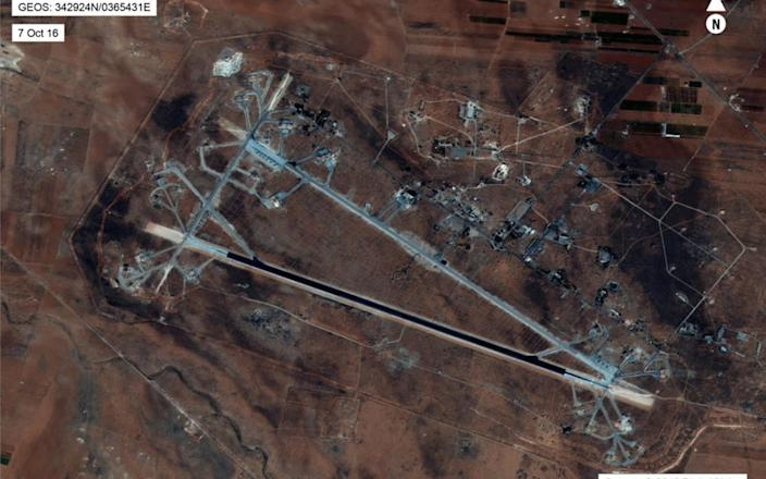 <span>An aerial view of the al-Shayrat Airfield near Homs, Syria, which was hit by US cruise missiles on Friday</span> <span>Credit: US department of defence </span>