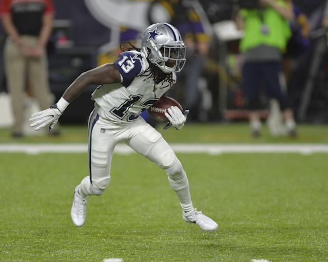 """Cowboys WR <a class=""""link rapid-noclick-resp"""" href=""""/nfl/players/29024/"""" data-ylk=""""slk:Lucky Whitehead"""">Lucky Whitehead</a> added his name to the list of Dallas players who got in trouble this offseason. (Getty Images)"""