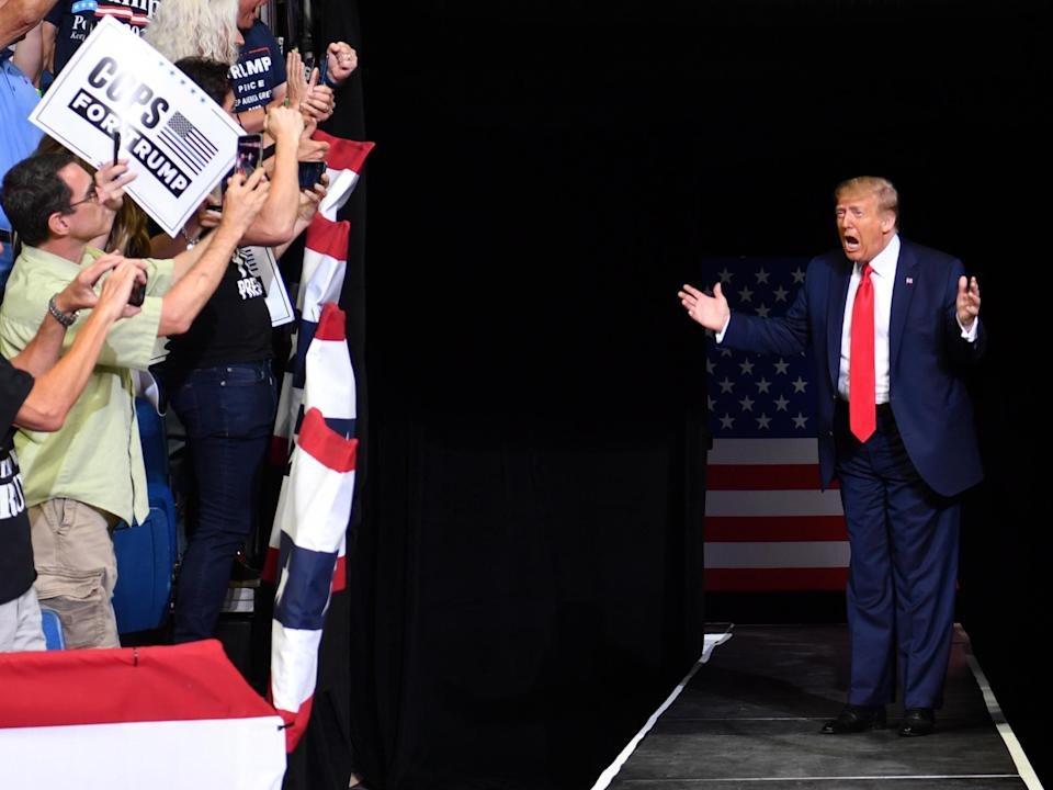 Donald Trump arrives for a campaign rally in Tulsa in June 2020: AFP/Getty