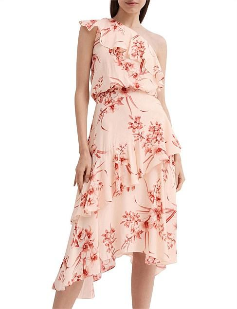 Witchery pink ruffle asymmetrical cocktail Christmas summer party midi dress